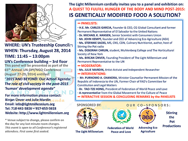A QUEST TO FULFILL HUNGER OF THE BODY AND MIND IN POST 2015: Is Genetically Modified Food A Solution?