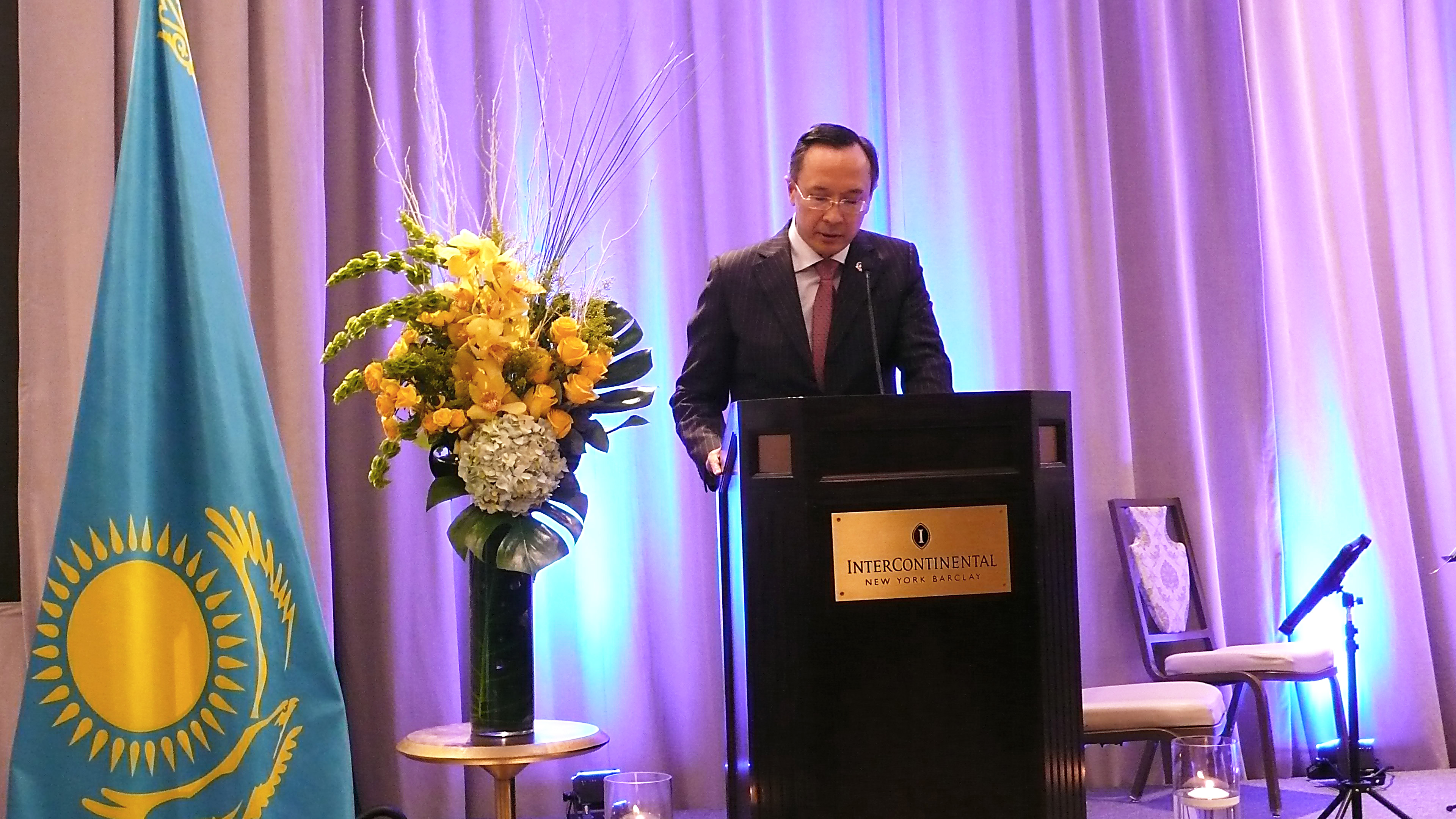 HE Kairat Abdrakhmanov is delivering statement of 25th Anniversary Celebration